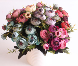 artificial camellia bouquet UK - Silk flower artificial snow tea buds europe and USA style camellia flower small bouquet wedding decoration home table decor
