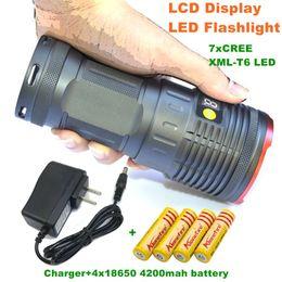 lamp for camping 2018 - 1set 12000 lumens light King 7T6 LED flashlamp 7 x CREE XM-L T6 LED Flashlight Torch Lamp Light For Hunting Camping+4x18