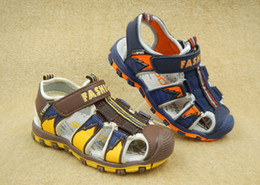 Kids Brown Sandals Canada - 2016 Comfortable Boys Sandals Boys Shoes With soft bottom and Baotou Size 26-31 Kids shoes DHL Free