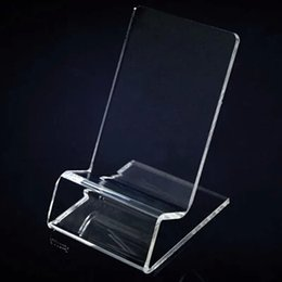 Universelle allgemeine klare transparente Acryl Halterung Display-Ständer für iPhone Samsung Handy-Handy gezeigt