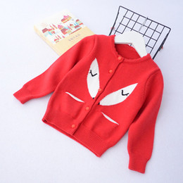 Barato Roupas De Bebê Fox Footed-Everweekend Girls Knitted Fox Pockets Sweater Cardigan Candy Color Sweet Children Jacket Outwears Lovely Baby Clothing
