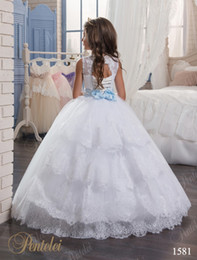 beaded kids flower girl dresses NZ - Kids Wedding Dresses 2017 with Tiered Skirt and Beaded Belt Appliques Tulle Ball Gown Flower Girls Gowns for Little Girls