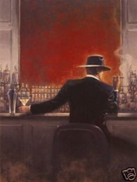 brent lynch paintings Canada - Brent Lynch adjusts Cigar man in a bar,Genuine Handpainted Portrait Art Oil Painting On High Quality Canvas,in customized size accepted