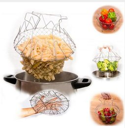 Chef Block Australia - Foldable Steam Rinse Strain French Fry Chef Basket Magic Folding Basket Mesh Basket Strainer Net Kitchen Cooking Tools