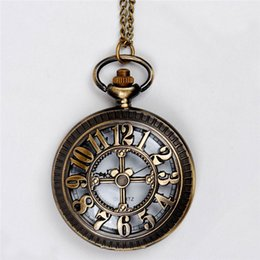hollow numerical cross pocket watches necklace brozne antique quartz watches locket wall clock necklaces women christmas jewelry