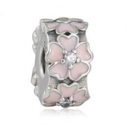 Lock Enamel Charms NZ - Pink Primrose Clip Charms Bead Authentic 925 Sterling-Silver-Jewelry Enamel Flower Stopper Lock Beads DIY Brand Logo Bracelets Accessories