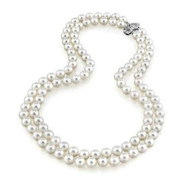 Pearl Double Strand UK - Hot sell double strands 9-10mm south seas white pearl necklace 18-20inch 925 silver clasp