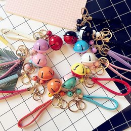 $enCountryForm.capitalKeyWord NZ - New two - color bell key chain creative gifts DIY key chain PU leather rope car bags pendant R247 Arts and Crafts mix order