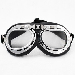 pilot goggles motorcycle helmet UK - Winter Goggle WWII RAF Retro Pilot Style Chrome Plated Frame Motorcycle Bicycle Cycling Cruiser Touring Helmet Goggles Elastic Strap Padded