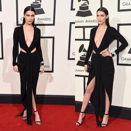 Nouvelle Conception De Robes Longues Pas Cher-2016 New York Grammy Red Carpet Celebrity Dresses Plongeant V Neck Sparkles Cutaway design sexy Retour robes de soirée