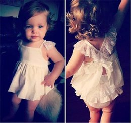 wholesale clothing fast shipping Canada - 2017 Newest Infants Baby Girls Lace Dresses Kids 2pcs Girls Sets Tops + Pants Outfits High Quality Kids Clothing Fast Shipping
