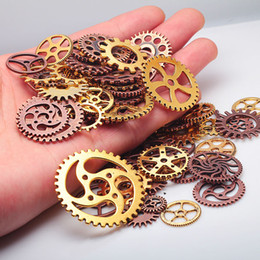 China Wholesale-Vintage Metal Mixed Gears Charms For Jewelry Making Diy Steampunk Gear Pendant Charms Wholesale 100pcs lot C8318a supplier steampunk jewelry making suppliers