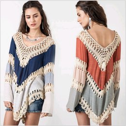 Barato Vestidos De Bikini Profundo V-Venda quente Swimwear Bikini Cubra-se, Verão, Profundo V Neck Crochet Beach Dress Bohemian Long Sleeve oco Out Lace Crochet V-Neck Blusa XL