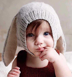 Knit Infant Hats NZ - hat sale4 Color INS Autumn Winter Toddler Infant Knitted Baby crochet Hats Adorable Rabbit Long Ear Hat Baby Bunny Beanie Caps Photo Props B