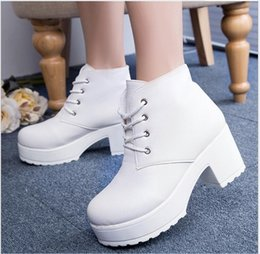 White Chunky Heel Platform Ankle Boots Online   White Chunky Heel ...