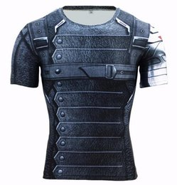 T-shirt À Long Terme Pas Cher-T-shirt d'hiver 3D Avengers Soldier 3 Compression Shirt Men manches longues Summer Fitness Crossfit T-shirt Homme Gym Vêtements Tight Tops