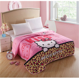 $enCountryForm.capitalKeyWord Canada - Pink Leopard Kitty Family Thin Quilt Home Textile, Summer Quilts for Children Gift Washable Polyester Air-conditioning Cartoon Blanket