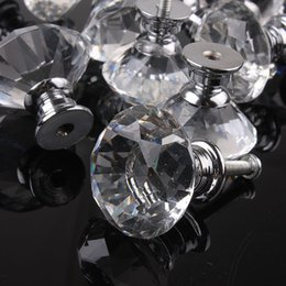 Pull Handles Crystals Canada - 10pcs 30mm Diamond Crystal Glass Alloy Door Drawer Cabinet Wardrobe Pull Handle Knobs Vintage Door Knobs Drop Shipping Wholesale