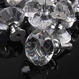 Crystal Pull Cabinet Handles Australia - 10pcs 30mm Diamond Crystal Glass Alloy Door Drawer Cabinet Wardrobe Pull Handle Knobs Vintage Door Knobs Drop Shipping Wholesale