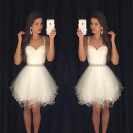 $enCountryForm.capitalKeyWord Australia - White Short Prom Dresses Modest Graduation Homecoming Dresses Cheap Spaghetti Straps Beaded Crystals Ruffles Party Gowns