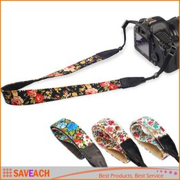 canvas camera straps 2018 - Women Girl Camera Neck Straps Vintage flowers and plants Neck Sling Camera Strap For Canon Nikon Sony SLR DSLR cheap can