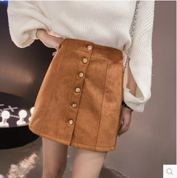 6296aa2b856 2017 new women s autumn fashion high waist a-line single breasted suede  leather short skirt plus size SML