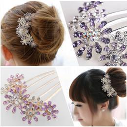 Rhinestone Crystal Flower Pattern Bridal Hair Tuck Comb Headwear Hair Ornaments Accessories Wedding on Sale