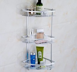 Metal Hollow Body Canada - hollow panel triangle bathroom shelf triple tier fixed wall mounted shampoo soap body lotion storage rack
