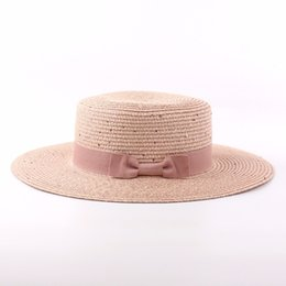 ladies summer fedora Canada - Wholesale- 2017 Summer Flat Straw Hats For Women Sequined Bow Sun Hat Ladies Fedora Sombreros Mujer