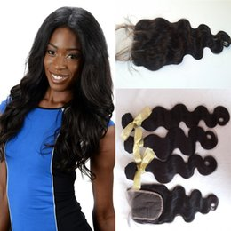 Hair tissage online shopping - 3 Bundles Peruvian Body Wave With Lace Closure Tissage Bresilienne Virgin Unprocessed Human Hair Brazilian Closure G EASY