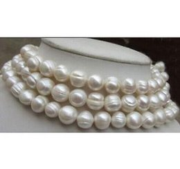 14k Gold Filled Pearl Australia - Beautiful AAA 11-12mm south sea baroque white pearl necklace 38 inch 14k gold clasp