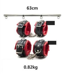 portable gear NZ - Heavy Duty Portable Detachable Steel Leg Spreader Bar Restraint System With Padded Leather Ankle & Wrist Cuffs Bondage Gear