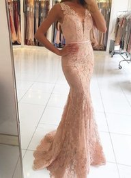 Barato Vestidos De Renda Vestido-2017 Mermaid Evening Dresses V-Neck Appliqued With Lace Beaded Ver através de Prom Party Gown Custom Made sem mangas Vestido Longo