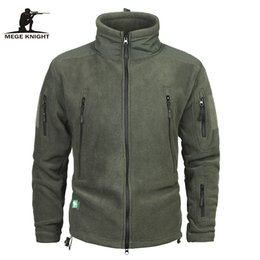 Wool Blend Military Jacket Canada - Mege Brand Clothing Coat Men Thicken Warm Military Army Fleece Jacket Patchwork Multi Pockets Polartec Men's Jacket and Coats