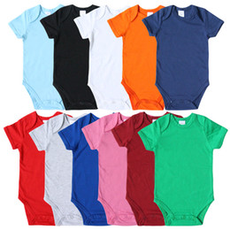 Wholesale red jumpsuits rompers for sale – dress Baby Rompers Solid Color Short Sleeve Healthy Cotton Newborn Jumpsuits Multi Colors Infant One Piece Clothing M