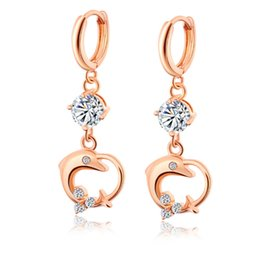 Wholesale nice tops for women resale online - Top Quality Fashion Simple Design Nice K Yellow Gold Plated Dolphin Earring for Girls Women
