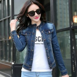 Stand Collar Denim Jacket Canada - New Arrival Women's Jacket Fashion Casual Denim Jacket Long Sleeve Clothing Slim Design Cotton Breathable Style Free Shipping