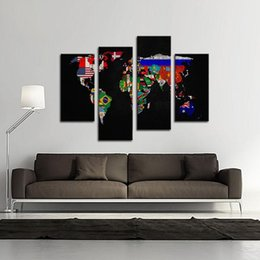 Discount world map canvas oil painting 2018 world map canvas oil 4 picture combination oil painting on canvas wall art flag in world map its countrys outline the picture for home decoration world map canvas oil painting gumiabroncs Gallery
