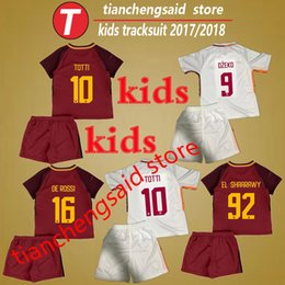 Meilleur Garçon De Costume Pas Cher-La meilleure qualité TOTTI EL SHAARAWY Jersey sportswear enfants maillots de football Kit 17 18 garçons football chemises costumes 2018 enfants football uniformes ensembles