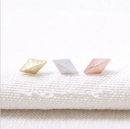 Cone earrings online shopping - The arrival of new female silver and rose gold for women EY E009 diamond cone studs earrings festival best gift