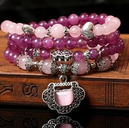 $enCountryForm.capitalKeyWord Canada - Natural crystal amethyst bracelet pink cat eyes auspicious lock fashion multi - layer hand string female Buddha beads jewelry x37