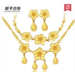 Discount emerald 14k gold Fast Free Shipping Fine 18K yellow gold filled flower chain necklace bracelet earring set bridal jewelry suit birthday gift