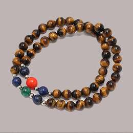 semi precious stone bracelets for women 2021 - SN0076 Coral Beaded Jewelry Semi Precious Stone Double Rows Round Stone Bracelet for Women tiger eye natural stone brace