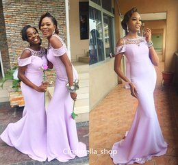 Belles Robes De Mariée Demoiselles D'honneur Pas Cher-Beautiful African Lavender Mermaid Robes de demoiselle d'honneur Jewel Neck Sweep Train 2017 Satin Maid Of Honor Gown Cheap Wedding Guest Dresses