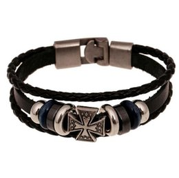 Sh Fashion UK - Fashion women men leather Multilayer statement bracelet Cool Punk Men Casual cross charm bracelets Jewelry SH-S80020