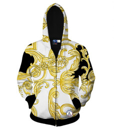 Chinese  Wholesale-2016 Autumn tops fashion hoody zipper jacket for men 3d sweatshirt print golden flowers sports hooded hoodies Asia S-XXL manufacturers