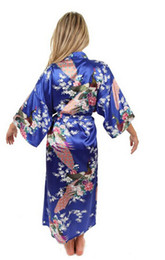 hot lingerie kimono 2018 - 86 Hot Sale Blue Female Silk Rayon Robes Gown Kimono Yukata Chinese Women Sexy Lingerie Sleepwear Plus Size S M L XL XXL