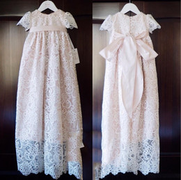 Robe Rose Bon Marché Pas Cher-Blush Pink Cheap Cute First Communion Robes Livraison gratuite Lace Applique Beads Jewel Neckline A Line Robe courte Custom Made Pageant Robes