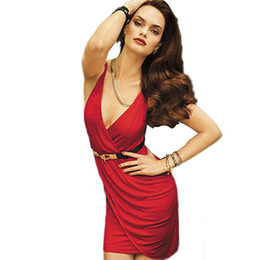 Hot Fashion Dress Sexy Summer Red Women Beach Grassetto Little senza maniche Deep-V corto vestito casuale W208008D