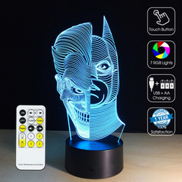 2016 half face batman 3d optical lamp rgb lights dimmable dc 5v aa battery ir remote control retail box